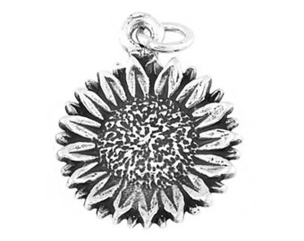 Sterling Silver Sunflower Charm (One Sided charm)