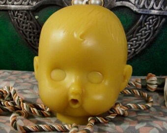 Baby Head Beeswax Candle Medium Size Choice Of Color Creepy Baby