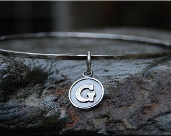 Sterling Silver Initial Bangle, Personalized Sterling Bangle Bracelet, Hammered Bangle, Sterling Silver Bracelet, Letter Charm Bangle