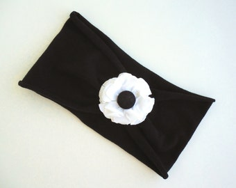 Black Adult Jersey Headband with White Flower, Upcycled from T-shirt - Woman's Teen's Headband - Recycled Tshirt Stretchy Headband