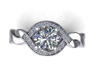 Platinum Diamond Halo  engagement ring, style 47PLDM