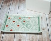 Stamped porcelain soap dish - bermuda, fog green