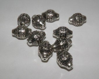 10 Piece Bicone Bead, Silver Color