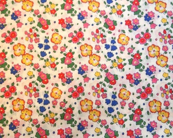 Liberty Tana Lawn, Liberty Art Fabric- Ella & Libby C, red and blue floral fabric, modern floral prints, fat eighth, cute floral prints