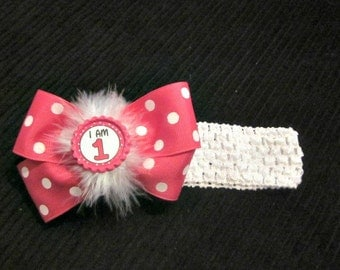 Girls 1st Birthday Headband Hairbow Combo By Sweetpeas Bows & More