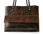Tote Bag / Leather / Chestnut Brown / Carry-all / Lap Top Bag.