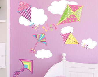 Girls Kites & Clouds Wall Stickers