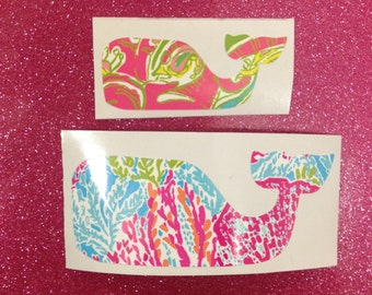 Lilly Pulitzer Print Whale Vinyl Decal