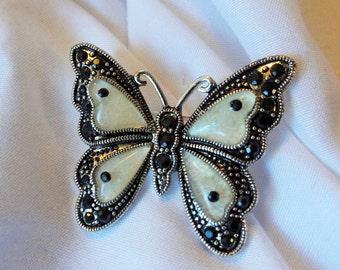 Butterfly Brooch Black Rhinestones