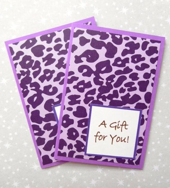 Gift Card Holder (Folder), Set of 2, Purple Cheetah on Purple
