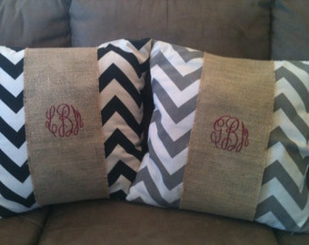 Monogrammed Burlap Pillow  Wrap