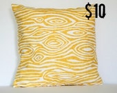 Yellow Modern Woodgrain Faux Bois Pillow Cover - 18 x 18 Decorative Pillow Cover