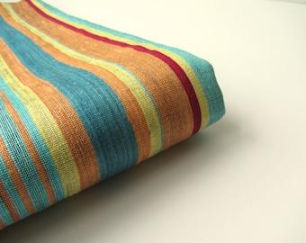 Blue orange yellow striped handloom silk from India fabric nr 12 for 1/4 yard - fat quarter