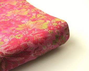 Pink green soft flowers from Varanasi India silk brocade fabric nr 480 fat quarter