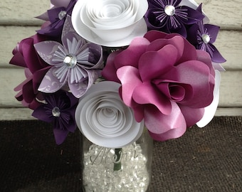 Paper flower bouquet, purple flowers, purple rose, white flowers, wedding flowers, kusudama flowers, custom flowers, custom bouquets.