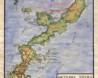 95 Japan: Okinawa Map vintage historic antique map poster print by Lisa Middleton