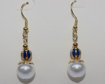 Blue and Gold With Pearl Dangle Pierced Earrings