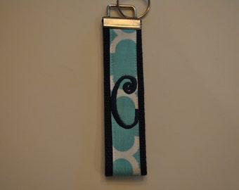 Geometric Monogrammed KeyFob Keychain Wristlet - Navy webbing/Blue and white geometric fabric