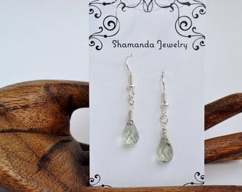 Faceted Green Amethyst Drops and Sterling Silver Earrings