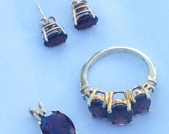 Garnet Jewelry set Ring with Earrings and a Pendant in 10K Gold and 14K Gold Vintage Jewelry SPRING SALE