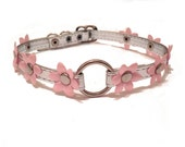 Flower Choker. Pink and Silver Collar