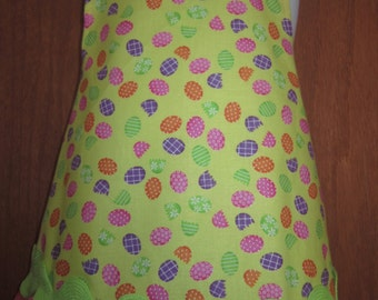 Apron Easter Spring yellow with eggs and ruffles - Kids