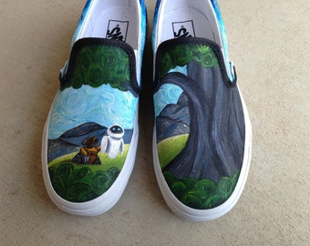 Custom Hand Painted Shoes - Van Gogh Wall-E
