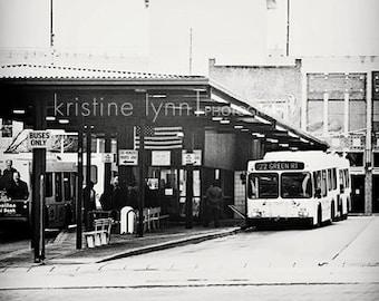 bus station, 5x5 print, black and white print, art, home decor, wall art, vintage, bus, fine art print