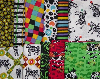"Free Spirit ""Bovine Moo Chic"" Luella Doss Quilting Fabric Collection-14.5 Yards!"