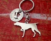 New German Shorthair Pointer Custom Keychain.  Pointer Personalized Jewelry.  Dog Breed Pendant.