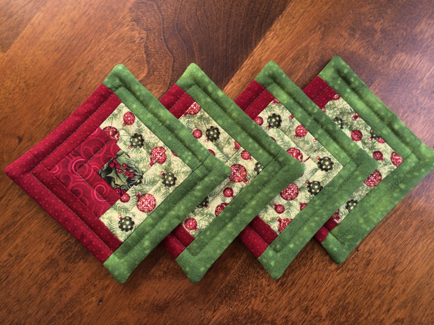Christmas Quilted Log Cabin Coasters Reversible Set Of 4