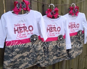 Daddy's my HERO and I'm His Princess Military Dress--Long Sleeve-Pinks--Marines, Navy, Air Force, Army, Coast Guard
