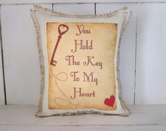 Burlap pillow, valentines day, love pillow, rustic burlap, burlap pillows, wedding pillow, engagement gift, farmhouse