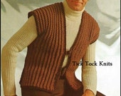 No.330 Men's Crochet Pattern PDF Vintage - Men's Easy Toggle Vest - Retro Crochet Pattern - Instant Download