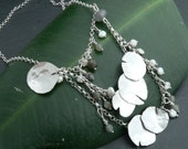 OOAK Three Tier Pearl and Labradorite Lily pad Pond Necklace in Sterling Silver