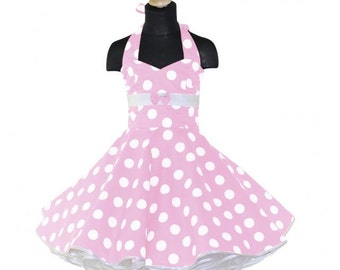 Girls 50's dress for petticoat custom made in baby light pink with large white dots