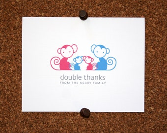 Monkey Twins Baby Thank You Cards. Custom Twin Shower Thank You Cards. Twin Baby Thank Yous. Personalized (Set of 10)