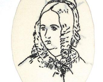 SALE 24.00 Vintage victorian era embroidery woman's portrait black and white
