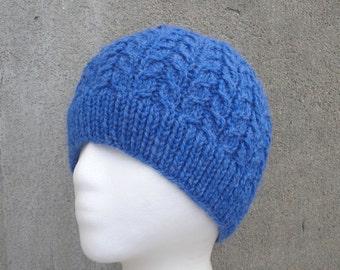 Cable Knit Hat, Men & Women, Bright Blue, Beanie Cap, Teen Girls Boys, Skully Skull Cap, Knitted Hat