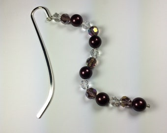 Bookmark, Beaded Bookmark Vintage Pearl Purple Beads Crystal Glass Beads Light Amethyst Beads