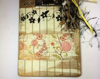 Clipboard, Mini Clipboard, Altered Art, Cream, Green, White, Pink and Red Floral and Stripe Paper, One of a Kind