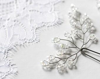 822_Silver hair pins, Hair vine, Crystal pins, Hair accessories crystals, Wedding hair accessories, Hair pin, Clear crystal hair accessories