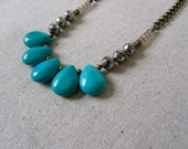 Turquoise Statement Necklace, Pyrite Necklace, Teardrop Stone Necklace, Chunky Necklace