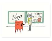 Raccoon Goes To Post Print, Raccoon Print, Raccoon Illustration, Woodland, Snail Mail, Kids Nursery Raccoon Illustration Hello Small World