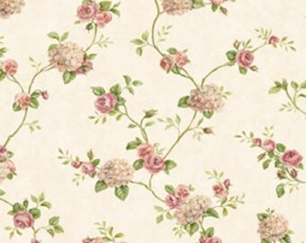 "Miniature Rose Garden Dollhouse Romantic Shabby Chic Wallpaper, ""Pretty in Pink"", Scale One Inch"