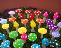 FREE US Shipping miniatures for fairy gardens 10 mushrooms miniature terrarium accessories miniatures for fairy garden outdoor mini garden