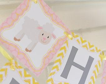 Lamb birthday banner, pink yellow, Little Lamb party, mary had a little lamb, Little Lamb, birthday banner, 1st birthday banner, baby lamb