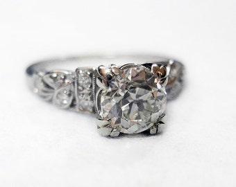 ON HOLD SALE!!! Spectacular Art Deco 1.05 Carat Diamond & Platinum Engagement Ring