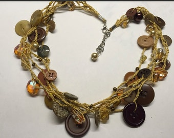Crocheted Vintage Brown Button Necklace