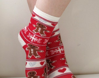 Children Socks Ginger Bread Socks Boot Socks Leg Warmer Fun Socks Casual Cotton Socks Cute Ankle Socks Cotton Socks Printed Socks